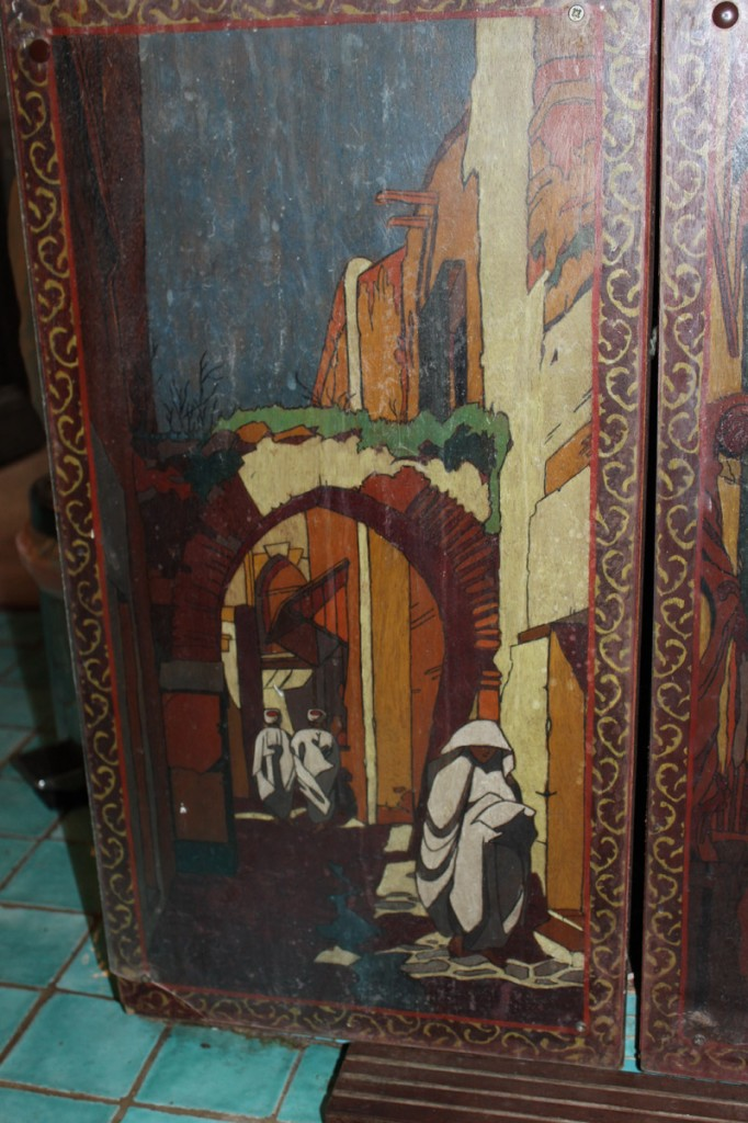 Painted doors of wash basin stands.